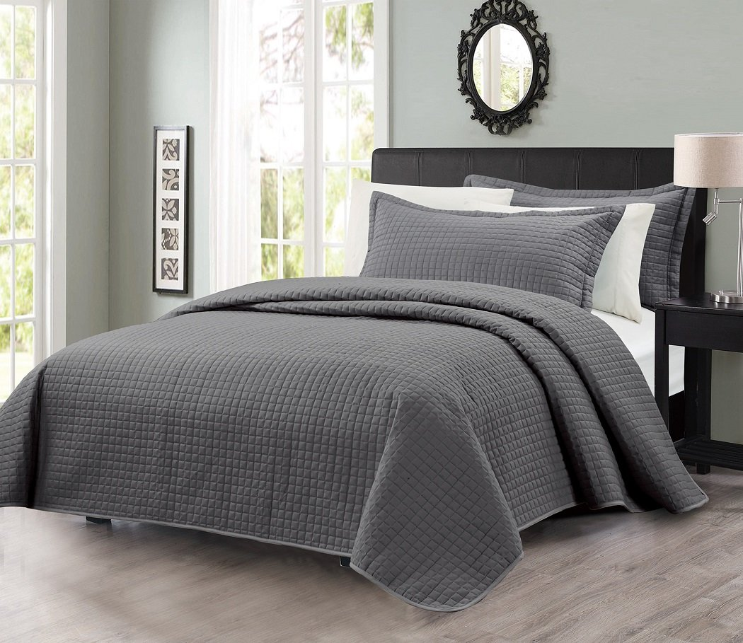 3pcs Solid Modern Quilted Coverlet Set (King, Charcoal