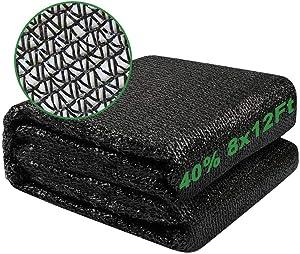 ensovo 40% Sunblock Shade Cloth Net Black Resistant - 8x12 Ft Garden Shade Mesh Tarp for Plant Cover
