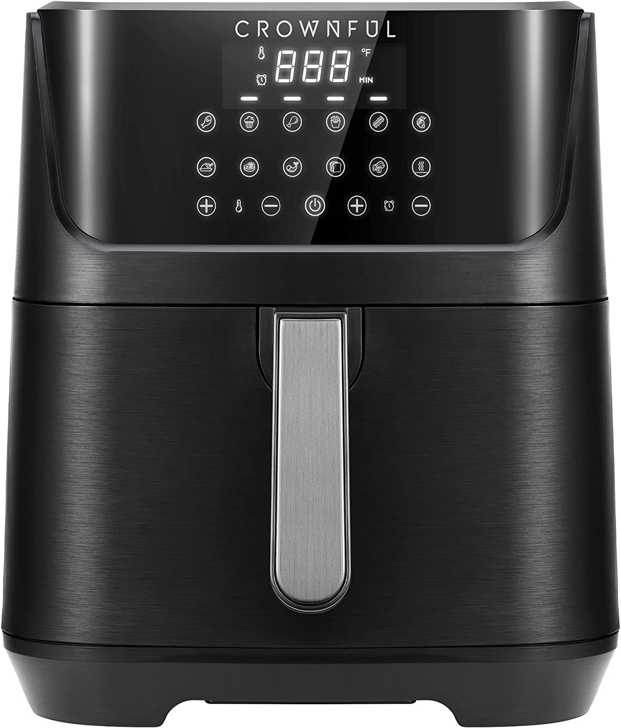 Crownful 7 Quart Air Fryer, Oilless Electric Cooker with 12 Cooking Functions, LCD Digital Touch Screen with Precise Temperature Control, Nonstick Basket, 1700W, UL Listed-Black