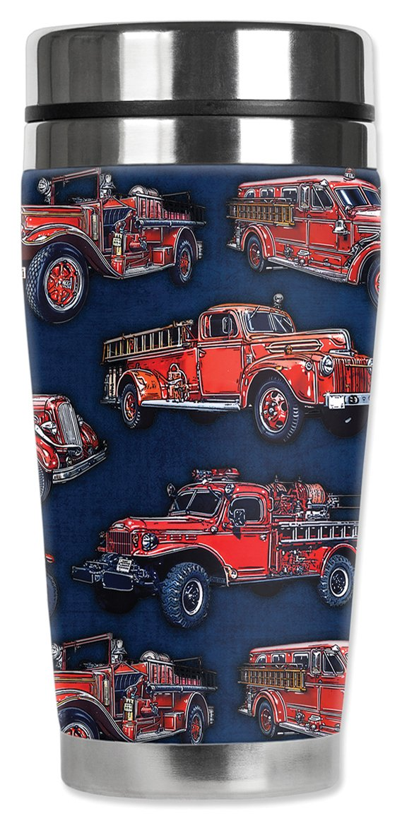 20 oz Black Mugzie 1265-MAXVintage Fire Trucks Stainless Steel Travel Mug with Insulated Wetsuit Cover