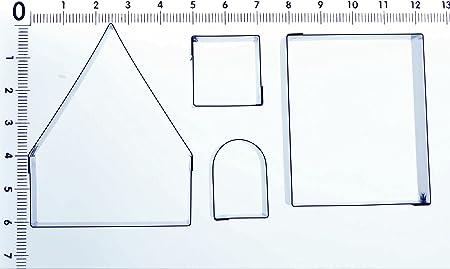 Polymer sehr klein f/ür Zuckermasse Motiv: Lebkuchenhaus Teig Edelstahl-Ausstechformen Ausstechformen-Set Modelliermasse 4/Ausstechformen Edelmetall-Tonerde usw.