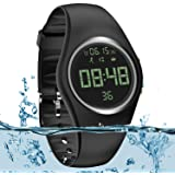 Simple Fitness Tracker [Swim Waterproof & No APP Need] Step Counter Walking 3D Walking Pedometer Watch with Vibration Alarm C