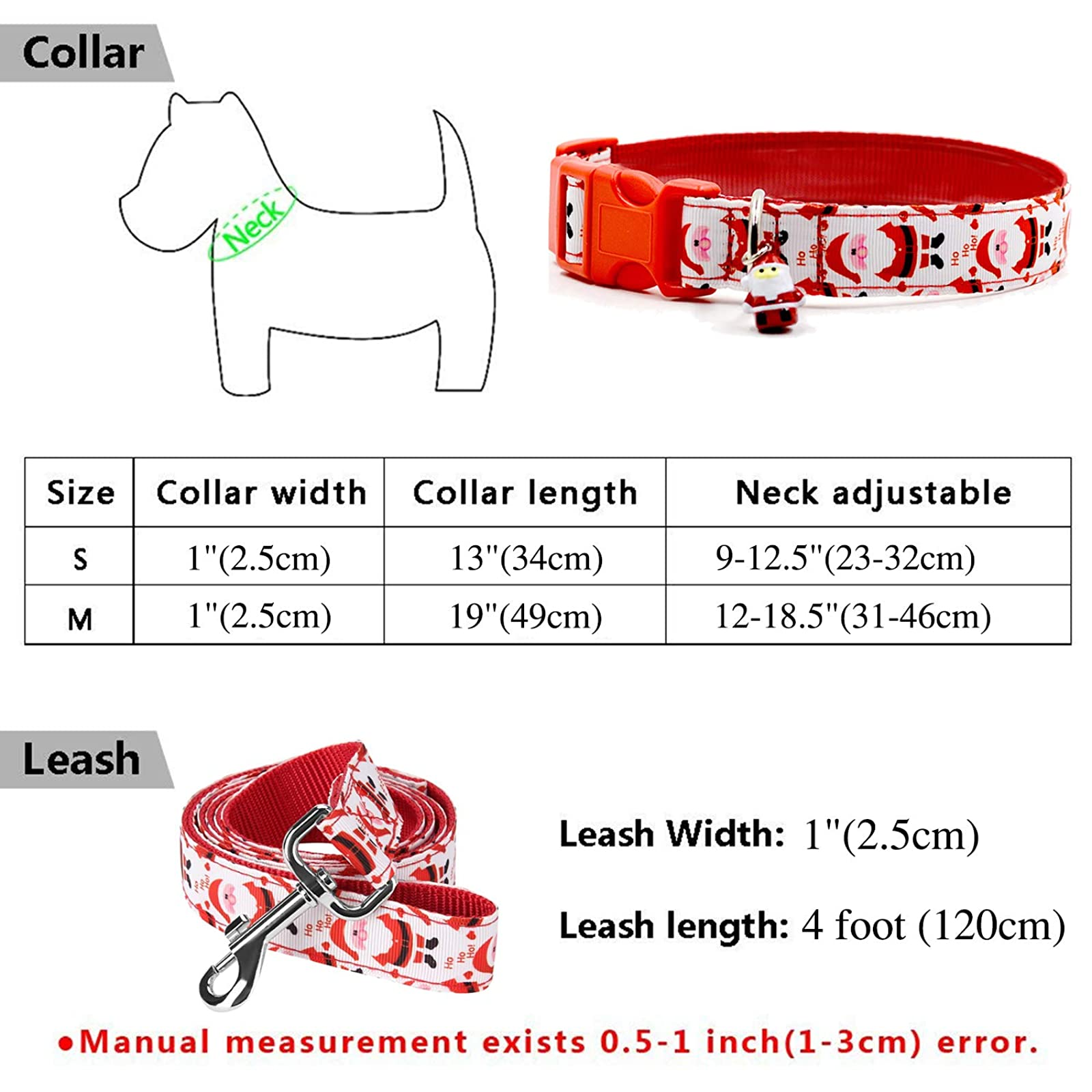 RYPET Christmas Dog Collar and Leash - Santa - 1