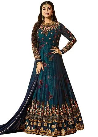 e0b434b4247 MR CROZY Women s Faux Georgette Long Anarkali Suit (Blue
