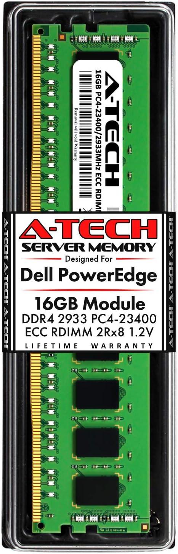 A-Tech 16GB Memory for Dell PowerEdge R440, T440, R540, R640, T640, M640, FC640, R740, R740XD, R940, C6420 | DDR4 2933MHz ECC RDIMM PC4-23400 2Rx8 1.2V 288-Pin DIMM Server RAM Upgrade Module
