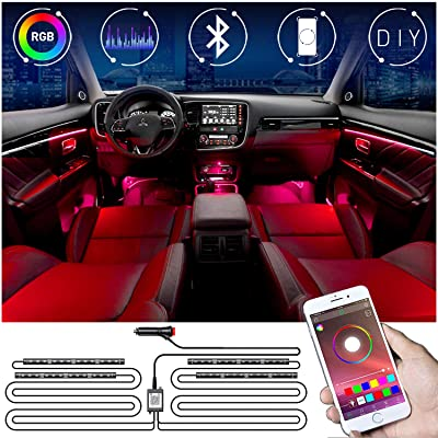 RGB Car Ambient Light Interior, KFZMAN 4PC LED Strip Light Kit Automative with Timer, APP Remote, Sync with Music, Strobe Model, Under Dash Lighting Kits with Cigarette Lighter Switch, DC12V: Automotive