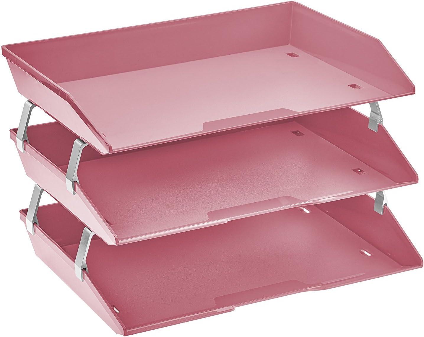 Acrimet Facility 3 Tier Letter Tray Side Load Plastic Desktop File Organizer (Solid Pink Color)