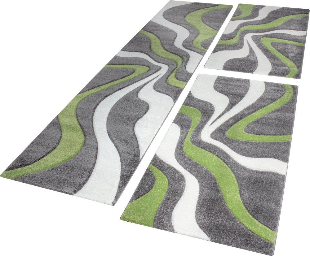 Dimension:2x 60x110 1x 80x300 Descente De Lit Tapis Design Aux Contours D/écoup/és Motif Vagues Vert Gris Cr/ème