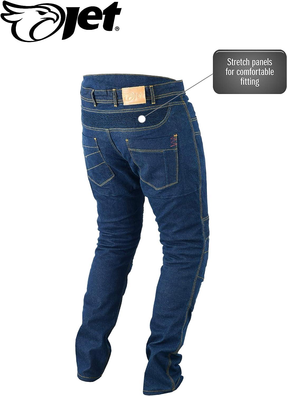 Jet Pantalon Moto Homme Jeans Kevlar Aramid avec Armure Tech Pro Gris, UK W48 L32 // EU 64 Regular