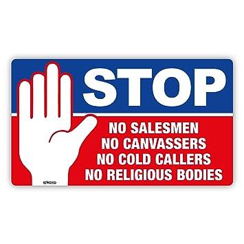 Stop cold calling door sticker no cold callers no religious groups no salesmen