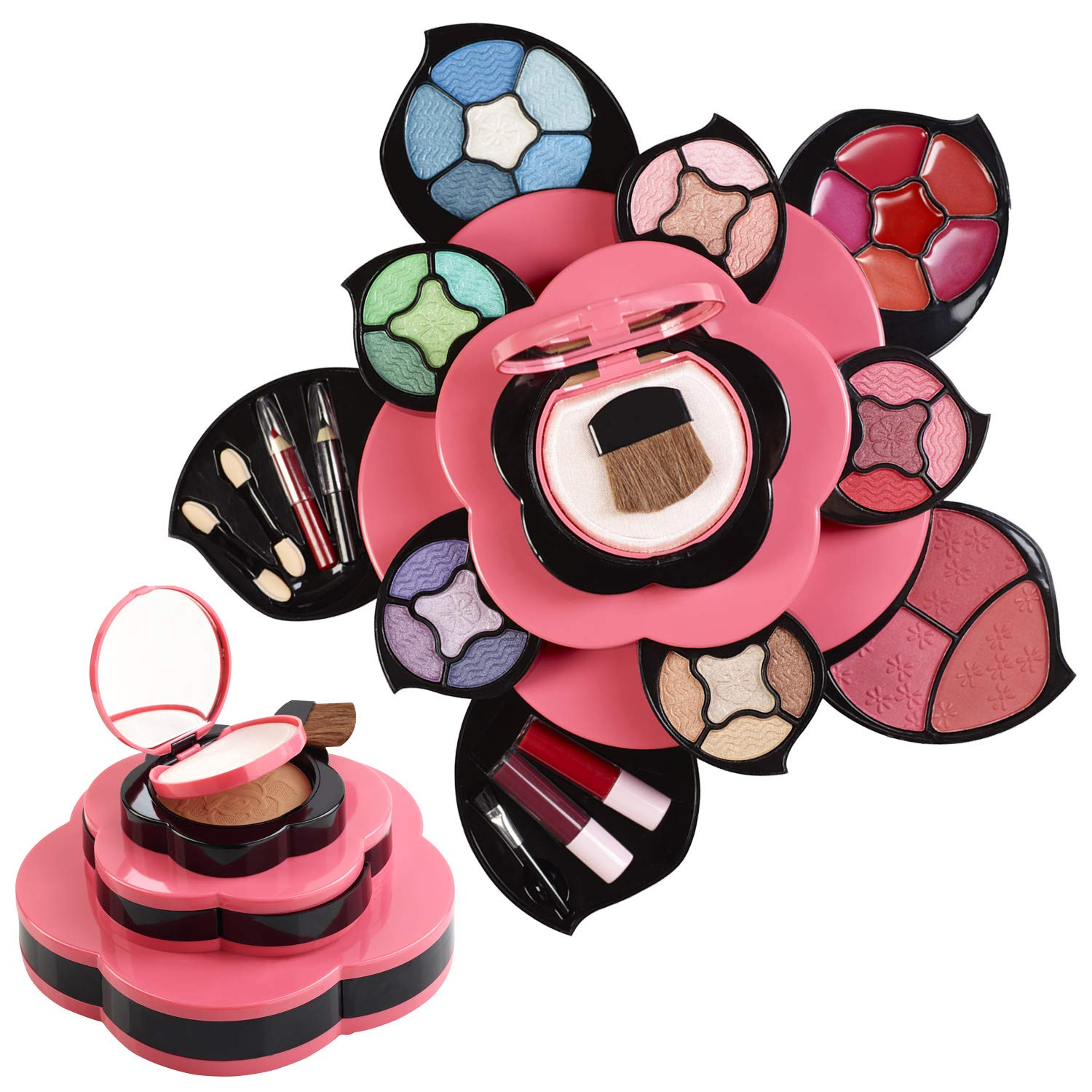Makeup Kits for Teens - Flower Make Up Pallete Gift Set for Teen Girls and Women - Petals Expand to 3 Tiers -Variety Shade Array - Full Starter Kit for Beginners or Cosplay by Toysical