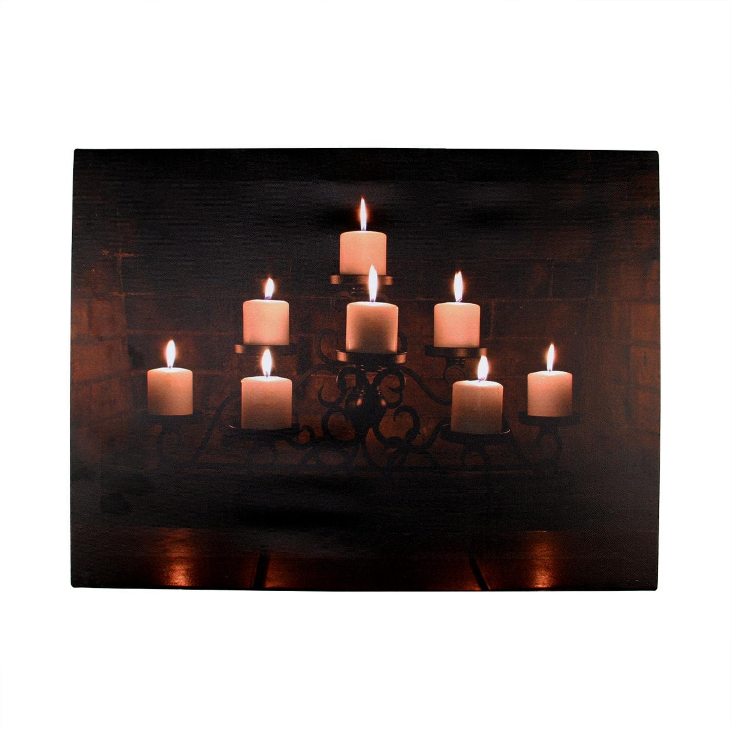 Northlight LED Lighted Flickering Rustic Lodge Fireplace Candles Canvas Wall Art Decor, 11.75'' X 15.75'', Orange