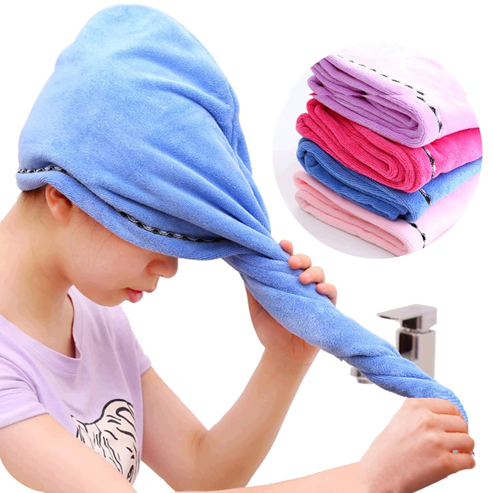 Microfiber Hair Drying Towels, Fast Drying Hair Cap, Long Hair Wrap, Absorbent Twist Turban, 4 Pack