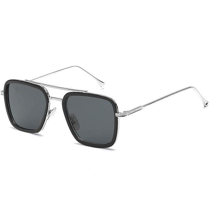 Amazon.com: Gafas de sol retro Tony Stark anteojos cuadrados ...