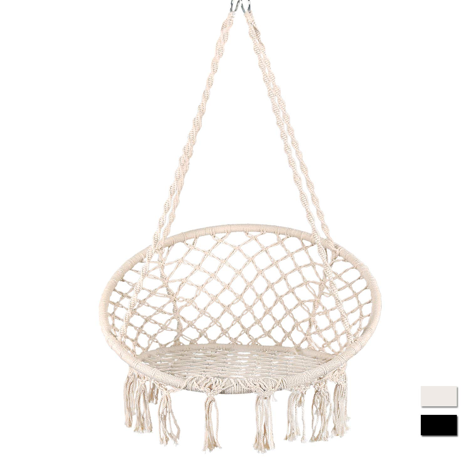 Bathonly Hammock Chair Macrame Swing Handmade Knitted Hanging Swing Chair, Cotton Rope Chair for Indoor Outdoor, Bedroom, Yard, Porch,-330lb Capacity Beige