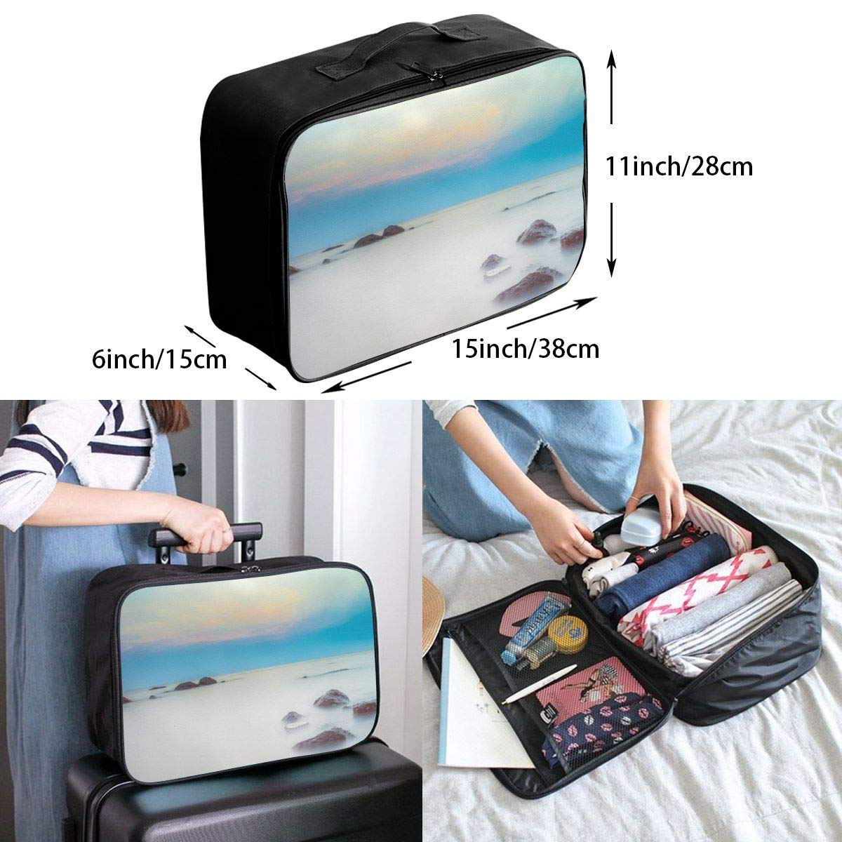 Mysterious Sea Travel Lightweight Storage Carry Luggage Duffle Tote Bag