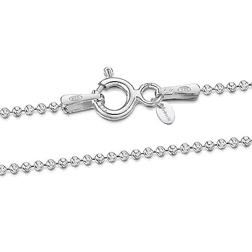 e9bc1d025552 Amberta® Joyería - Collar - Fina Plata De Ley 925 - Diamante Corte - Cadena