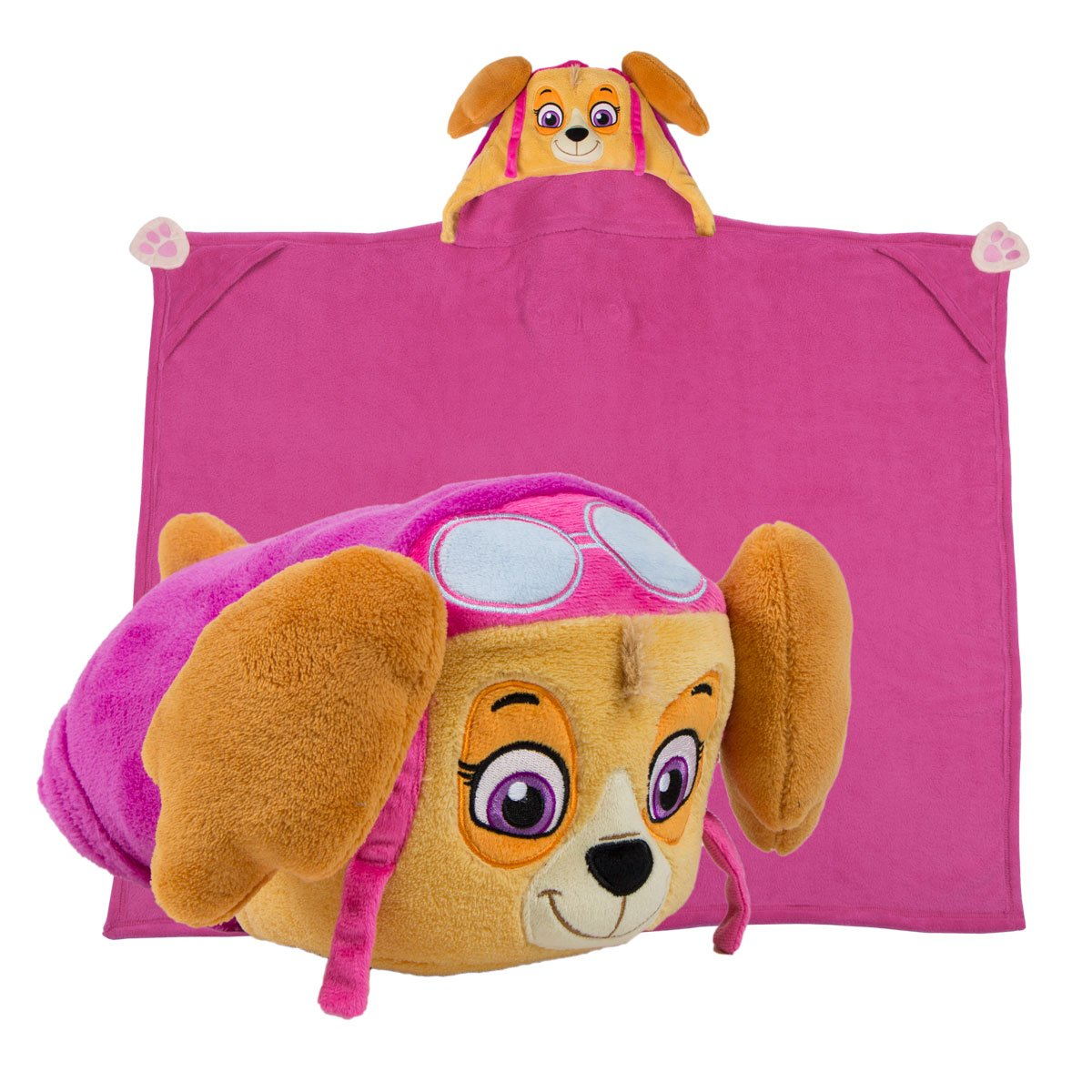 Comfy Critters Stuffed Animal Plush Blanket – PAW Patrol Skye – Kids wearable pillow and blanket perfect for pretend play, travel, nap time.