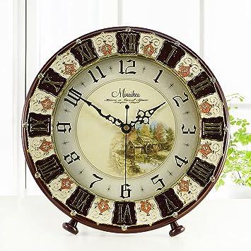 Reloj de Mesa Pastoreo Retro Estilo Antiguo Escritorio del Reloj de Tabla del Despertador del Reloj Relojes de Mesa silencioso Diseño Cocina Salón Interior ...