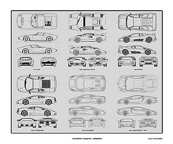 Amazon lamborghini blueprint collection print car art gift lamborghini blueprint collection print car art gift 20x24 malvernweather Choice Image