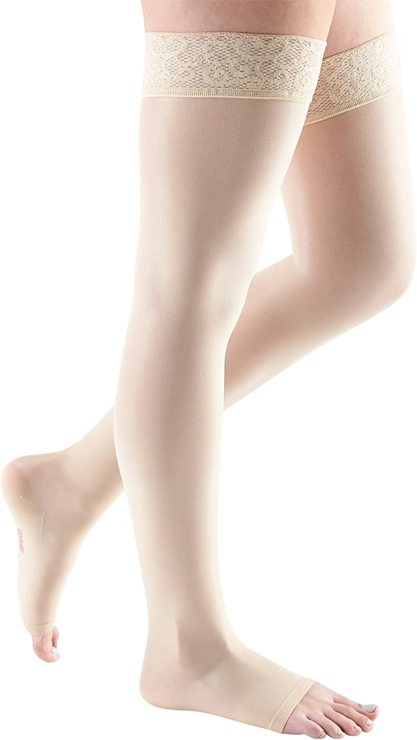 Open Toe Thigh High Compression Stockings medi Sheer /& Soft for Women 20-30 mmHg