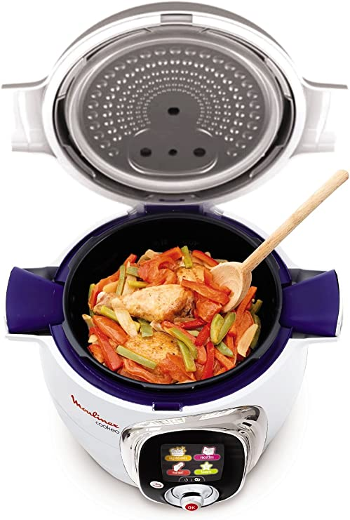 Moulinex Cookeo CE701010 - Robot de cocina (1200 W, capacidad para 6 comensales, capacidad de 6 l, 50 recetas), color blanco: Amazon.es: Hogar