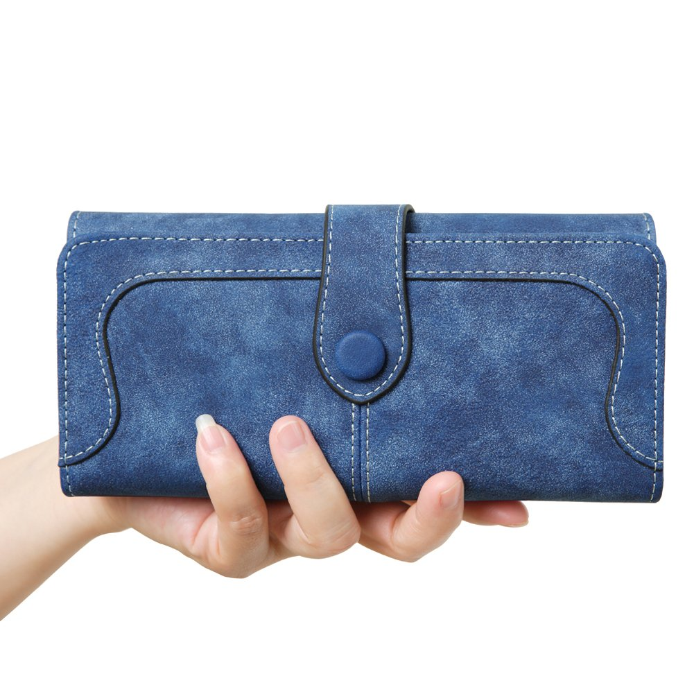 Women's Vegan Leather 17 Card Slots Card Holder Long Big Bifold Wallet,Navy by Cynure (Image #8)