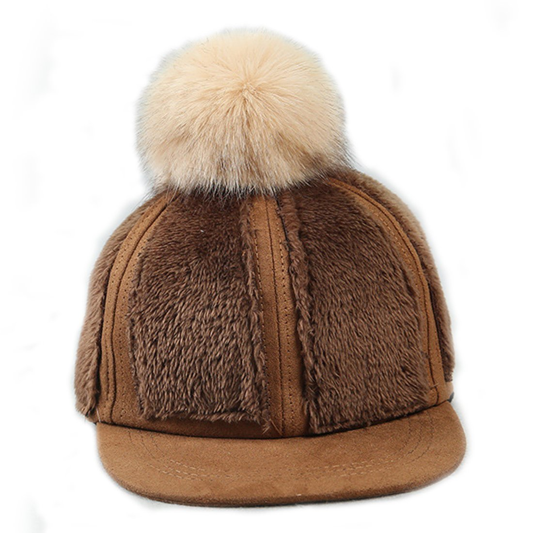 King Star Child Kids Boys Girls Fur Pom Pom Baseball Hat Hip-hop Cap Winter Hat Coffee