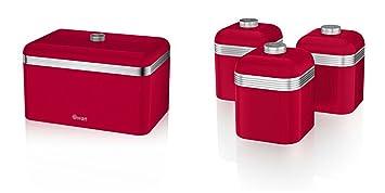 Swan Kitchen Accessories Retro Set Retro Red Bread Bin Breadbin And 3 Red