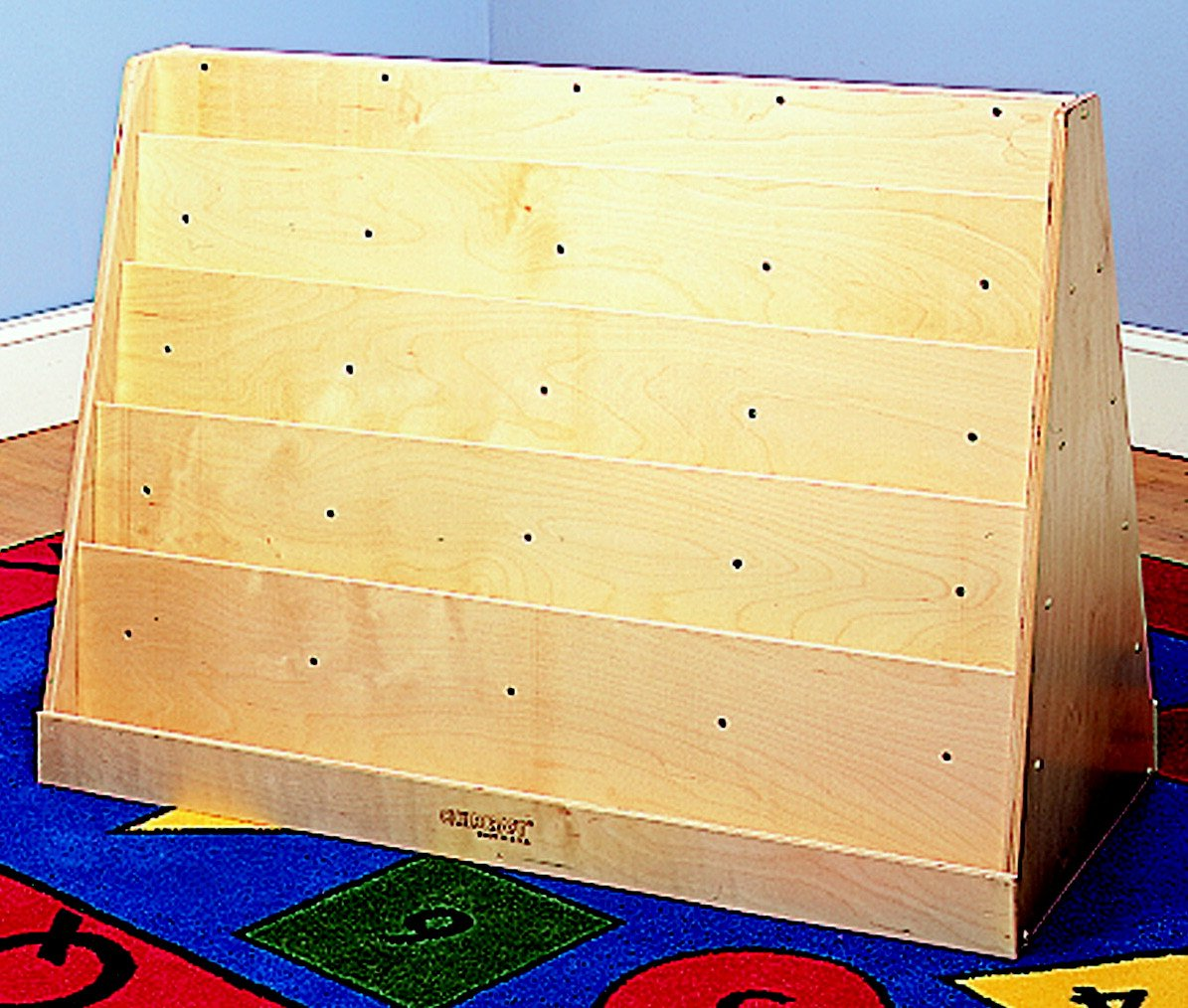 Childcraft 071958 Double Sided Wide and Extra Deep Book Display, Birch Veneer Panel, UV Acrylic, 42'' x 19'' x 29'', Natural Wood Tone