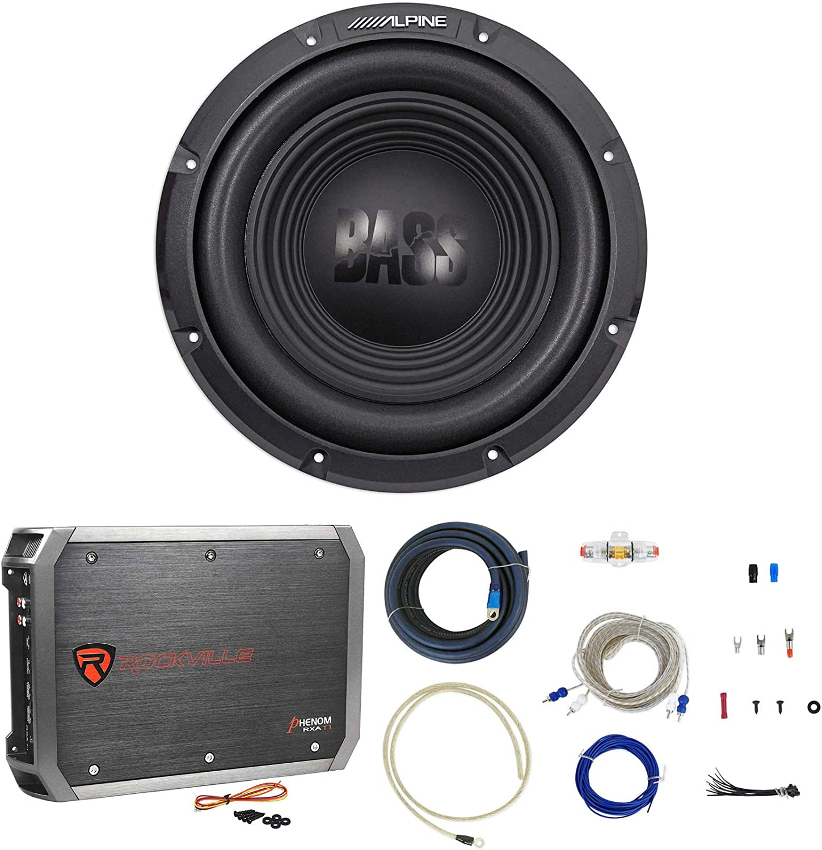 Alpine W10S4 10 750 Watt 4-Ohm Car Audio Subwoofer+2-Channel Amplifier+Amp Kit