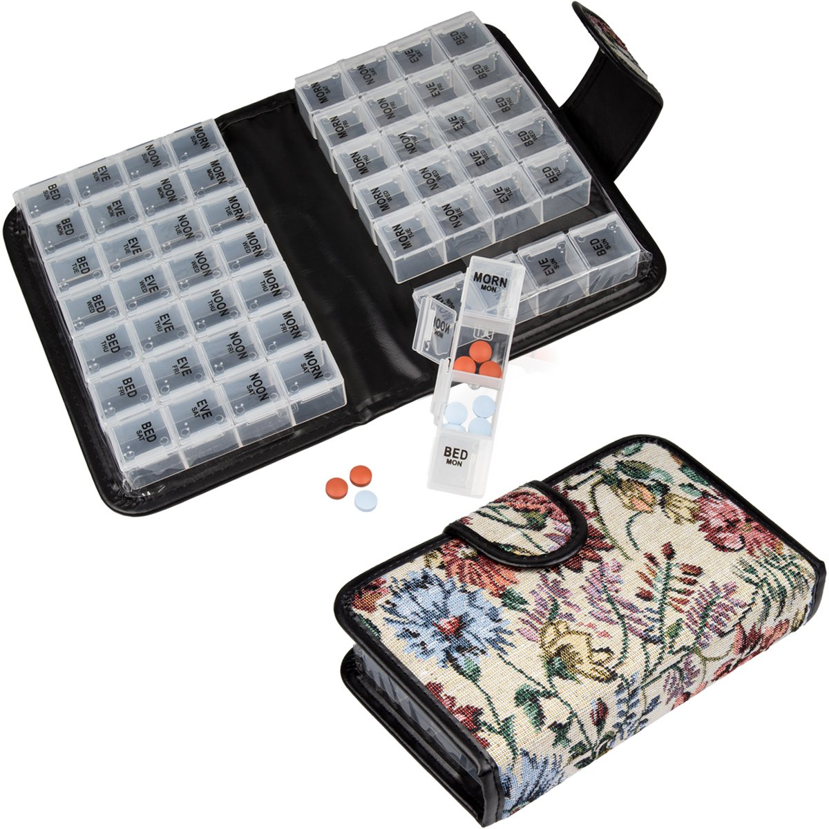 14-Day Pill & Vitamin Organizer Booklet 2 Weeks AM/PM 4 Doses A Day Travel Case by DG Home Goods   B01EIGWXJW