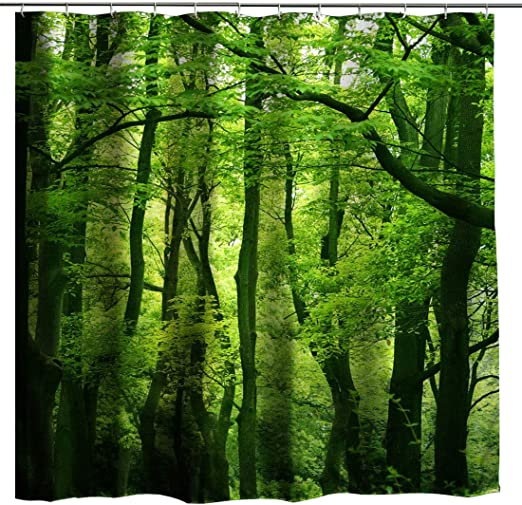 "Tropical Rain Forest Jungle Green Leaves Fabric Shower Curtain Set Hooks 72x72/"""