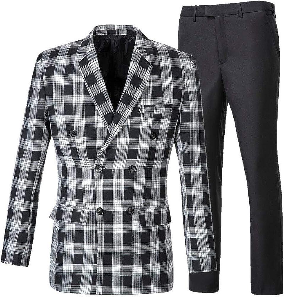 suit women Mens Plaid 2 Piece Suit Set Blazer Jacket Tux Suit Pants Business Formal Suit