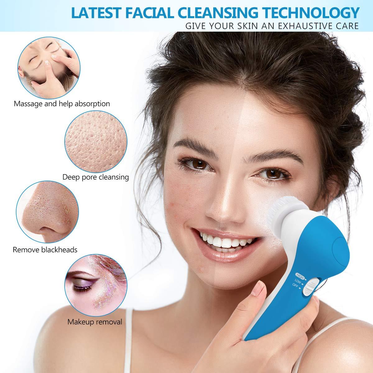 7-In-1 Facial Cleansing Brush Set, Waterproof Face Spin Brush Exfoliating Brush - Sapphire Blue