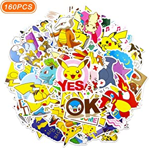 160 Pcs Pokemon Stickers Cute Anime Pikachu Stickers Gift for Kids Teen Birthday Party