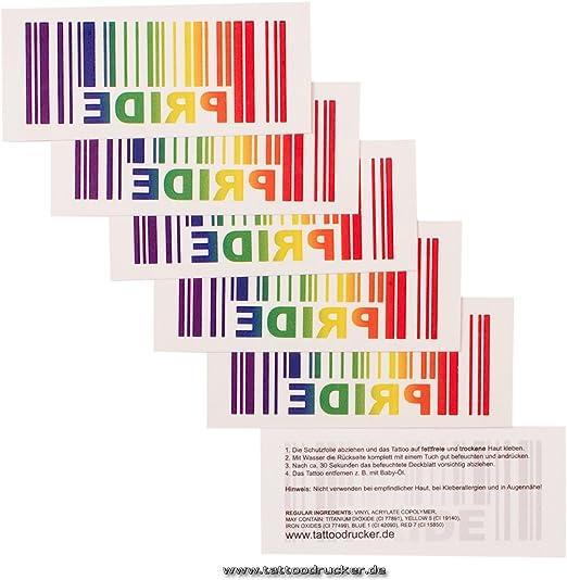 1 x Código de barras PRIDE - tatuaje temporal como arco iris ...
