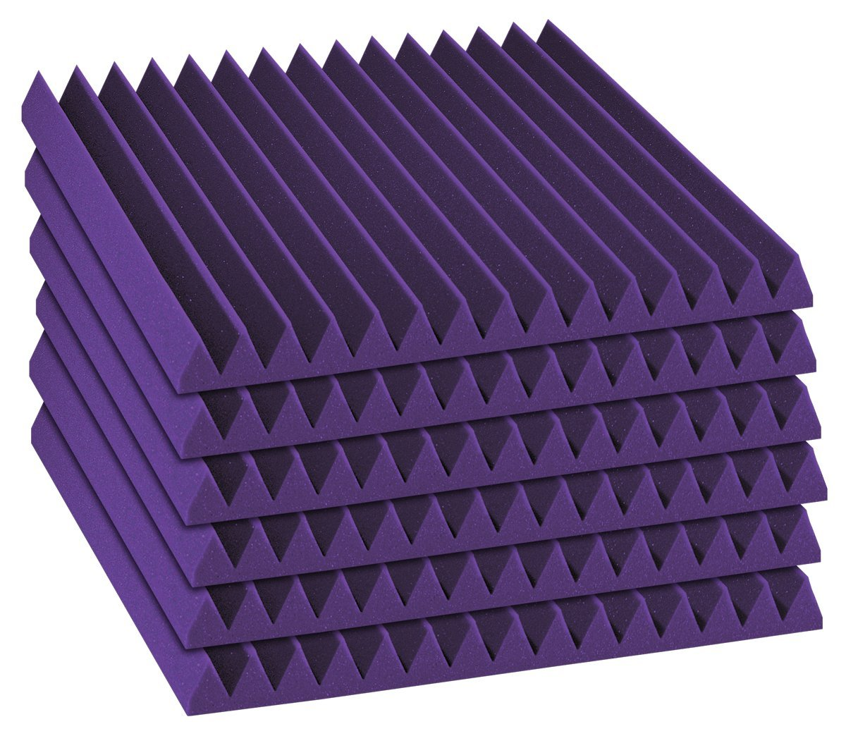 "Auralex Acoustics 2"" x 24"" x 24"" Sound Absorption Studiofoam Wedge Panels, Purple - 6 Pack AZ_2SF22PUR_6PK"