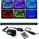 Love U Pet Fish Tank Light Waterproof Aquarium Lights Remote Control 5050 LED Color Changing 52cm 20.5inch Air Bubble lights with 24key controller for Fresh and Saltwater Aquarium
