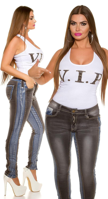 2b53e3791fa NOIR TRIPLE XXX KOUCLA Sexy Curvy Girls Womens Plus Size Contrasting Blue  and Black Stretchy Skinny Jeans - UK Sizes Approx 10