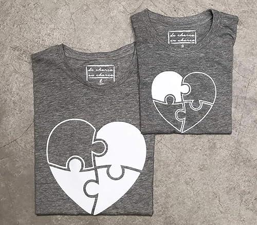 PACK Camisetas M/C Corazon Puzzle (Adulto + Niño/Niña o Bebé ...