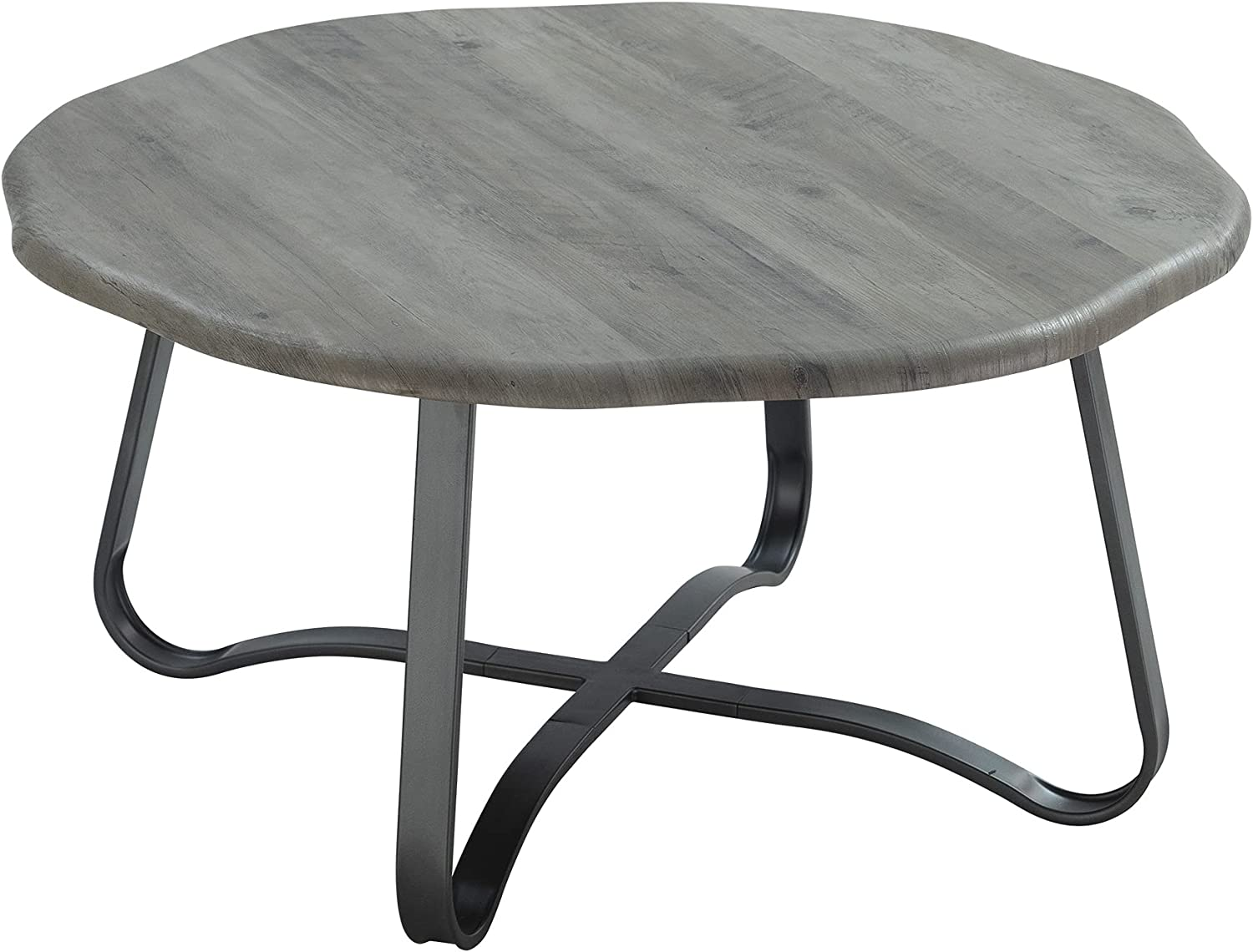 """FINECASA Accent Coffee Table, Irregular Table Top Coffee Table with Cross Rack, Sofa Table, Office Table, Cocktail Table, Center Tables for Living Room Reception Room, 35.4""""Dx18.1""""H, Grey"""