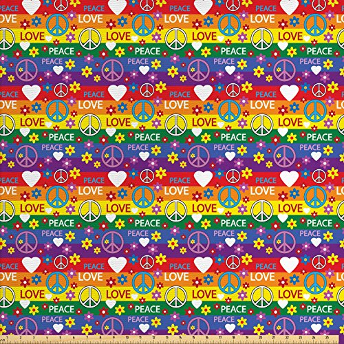 Political Themed Costumes (Groovy Decorations Fabric by the Yard by Ambesonne, Heart Peace Symbol Flower Power Political Hippie Cheerful Colors Festival Joyful , Decorative Fabric for Upholstery and Home Accents)