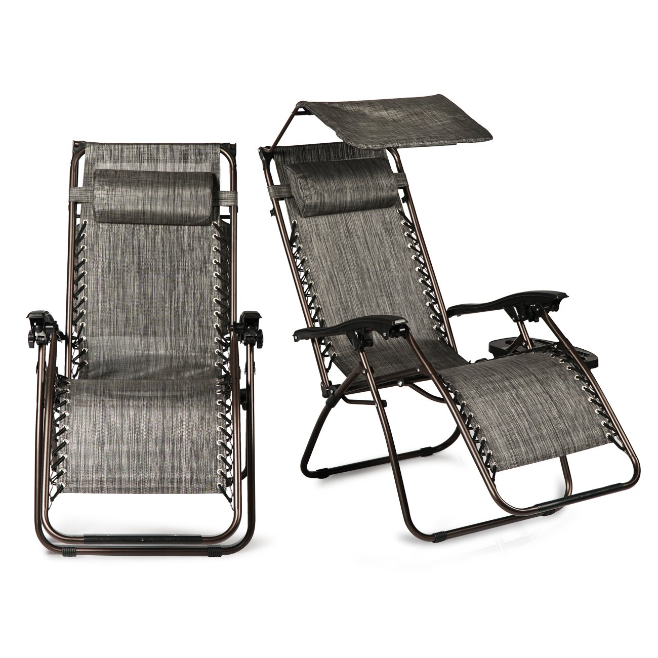 Belleze Set of 2 Ergonomic Recliner Phone Slots Reclining Zero Gravity Chairs Canopy Shade Cover w/Adjustable Pillows, Gray