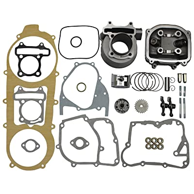 GOOFIT 57.4mm Bore Cylinder Kit 150cc Big Bore GY6 Engine Rebuild Kit Cylinder Head Chinese Scooter: Automotive