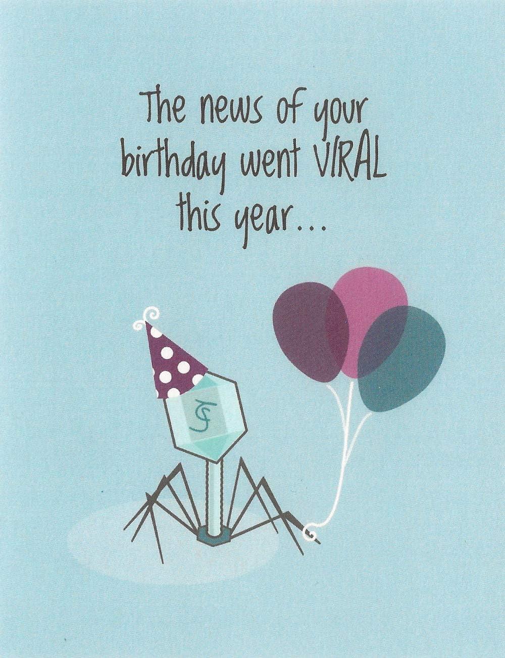 Viral Birthday Virus Card 4.25 X 5.5 by Nerdy Words
