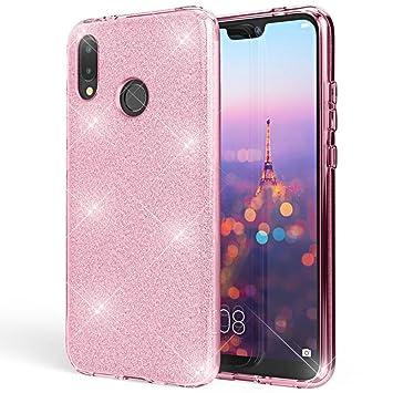 Coovertify Funda Purpurina Brillante Rosa Huawei P20 Lite, Carcasa Resistente de Gel Silicona con Brillo Rosa para Huawei P20 Lite