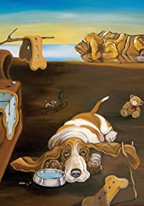 Toland Home Garden Salvador Doggy Basset Hound 12.5 x 18 Inch Decorative Puppy Dog Bone Artistic Dali Garden Flag