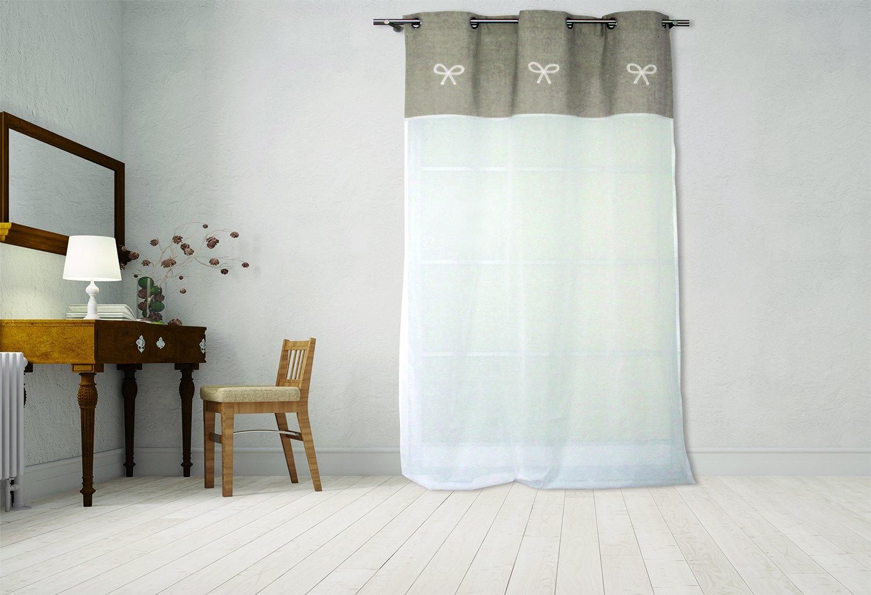Soleil docre Emilie Voile Brod/é Ecru Coton 250 x 135 cm