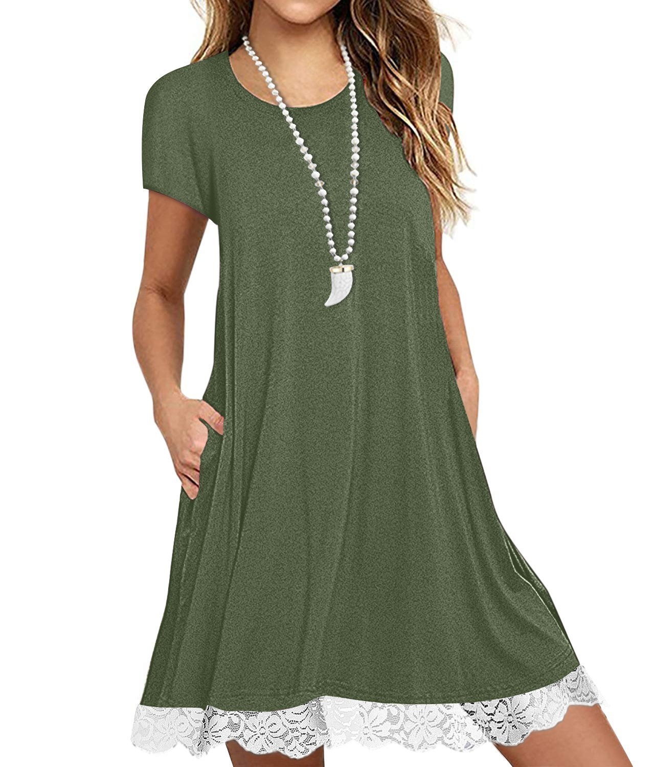 Eanklosco Womens Casual Short Sleeve Plain Pocket V Neck T Shirt Tunic Dress (Green-2, L)